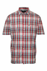 mens champion country style casual check short sleeved polycotton