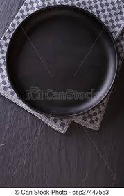 plate table top tableware black empty plate on the table top view vertical stock