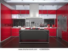 modern kitchen interior red color theme stock illustration