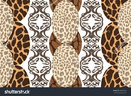 Animal Ornaments Ethnic Style Carper Different Animal Prints Stock Vector 669598432