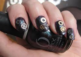 glitter is my notd steampunk nails w orly cosmic fx