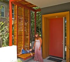 wood fence ideas entry modern with bench bright colors concrete