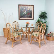 Dining Table With Rattan Chairs Sundance Rattan 5 Piece Dining Set Honey