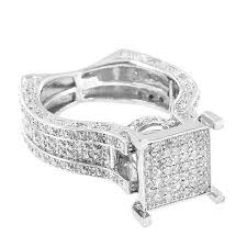 rings with square images Sterling silver engagement ring square face real diamonds micro jpeg