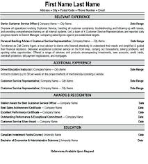 sample resume for customer service representative in bank sample