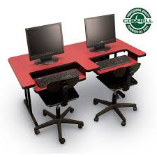 2 level computer desk correll high pressure bi level desk with two keyboard trays bl3060 2