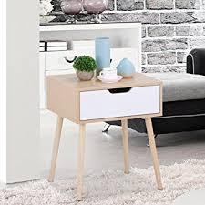 bedside table amazon amazon com topeakmart walnut bedside table solid wood legs