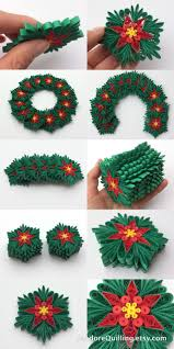 snowflakes poinsettia green red yellow christmas tree decoration