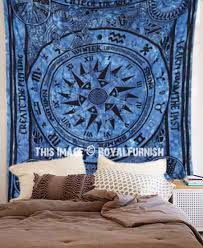 big blue cycle of ages tie dye wall tapestry indian tie dye