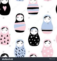 nesting doll matreshka russian doll stock vector 701191003