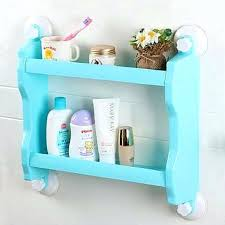 Plastic Bathroom Storage Suction Cup Bathroom Plastic Wall Mounted Suction Cup Storage Rack
