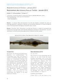fond d ran de bureau recensement des oiseaux d eau en tunisie pdf available