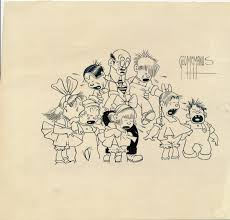 george mcmanus sketch signed pen and ink of eight characters