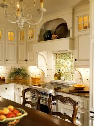 white french country kitchen with floral backsplash idolza