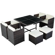 sofa set furniture amazon com tangkula 9 pcs outdoor patio garden rattan wicker sofa