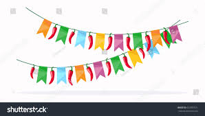 mexican celebration detail colorful garland stock vector