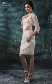short ivory lace wedding dress with elbow sleeves jacket sheath