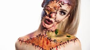 reversed zipper face halloween makeup tutorial