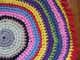 Bright Colored Rugs Crochet T Shirt Yarn Rug Round Pattern Of Multiple Colors