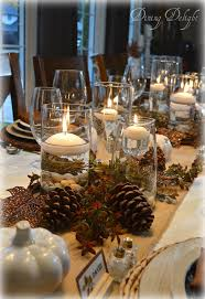 Simple Vase Centerpieces Dining Delight Thanksgiving Tablescape With Cylinder Vase Centerpiece
