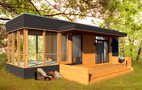 prefab micro house in wood contemporary single story solo 24