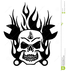 mechanic tattoos skull with mechanics wrench and flames royalty free stock