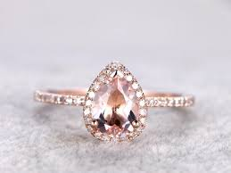 morganite pear engagement ring 6x8mm pear cut morganite engagement ring gold wedding