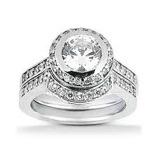 Engagement Wedding Ring Sets by Halo Style Moissanite And Diamond Wedding Ring Set