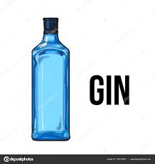 traditional unlabeled unopened blue gin glass bottle sketch