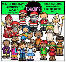 winter holidays around the world clip bundle color and b w