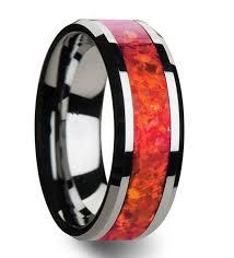 nebula men s wedding band tungsten opal mens rings