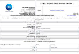 conflict minerals reporting template iso certification