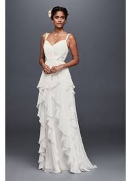 chiffon wedding dress ruffled chiffon wedding dress with lace back david s bridal