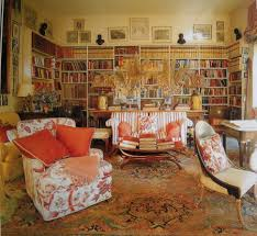 interior awesome french style living room with library room