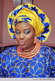 african make and asooke hair styles nigerian wedding blue iro and buba lace and yellow and blue aso