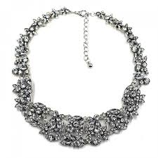 bib necklace crystal images Ice laurel crystal stone cluster statement bib necklace jpg