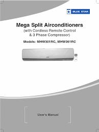mega split acs user manual mhw301rc mhw361rc air conditioning hvac