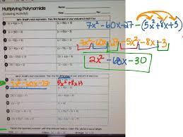 multiplying polynomials coloring activity math algebra