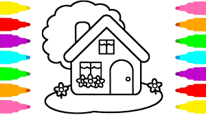 how to draw house coloring pages for kids children learn colors