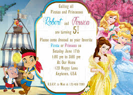 pirate and princess twins or double birthday party invitation