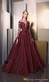 ziad nakad fashion burgundy sparkly detail sleeve prom dresses ziad