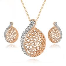elegant pendant necklace images 17km elegant pendientes austrian crystal chain jewelry sets gold jpg