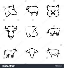 livestock icons set set 9 livestock stock vector 617690120