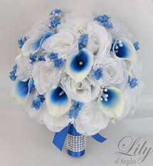 wedding flowers royal blue 17 package silk flowers wedding bouquet bridal party