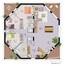 plan maison plain pied 5 chambres cuisine maison octogonale dã du plan de maison octogonale