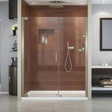 Dreamline Shower Doors Frameless Shop Dreamline Elegance 58 In To 60 In W Frameless Brushed Nickel