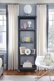 White Curtains With Blue Trim White Curtains With Gray Trim Transitional Den Library Office