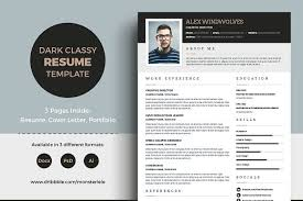 dark classy resume 3 pages resume templates creative market