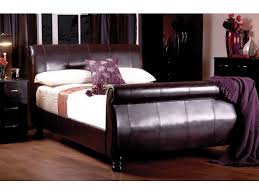 King Size Leather Sleigh Bed Sweet Dreams King Size 5ft Chocolate Brown Faux Leather Sleigh Bed