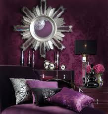 dark purple color scheme wallpaper and unique mirror idea for